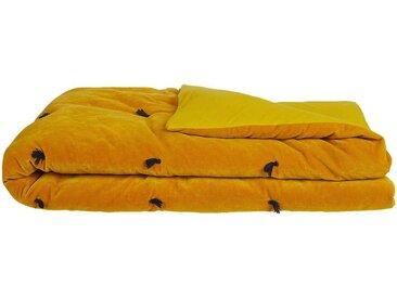 Édredon en velours jaune avec piquage pompons 100x180cm - alinea