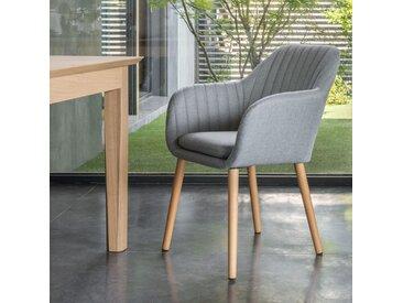Chaise capitonnée en tissu gris clair avec accoudoirs - alinea