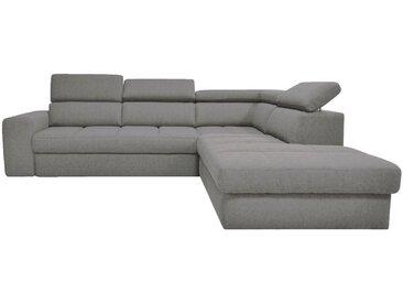 Canapé d'angle droit panoramique convertible en tissu gris clair - alinea
