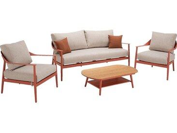Salon de jardin en aluminium - rouge ricin (5 places) - alinea