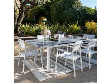 Table de jardin extensible en aluminium blanc (10 places) Alinéa