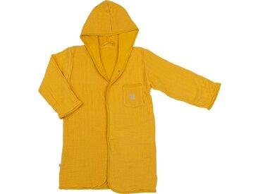 Peignoir enfant 4 à 6 ans en coton bio avec broderie lurex - jaune moutarde - alinea