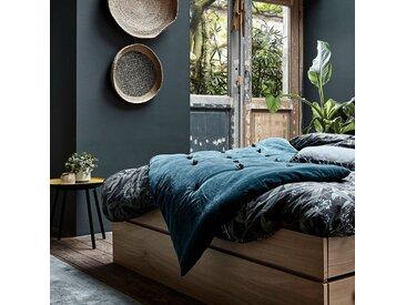 Édredon en velours bleu avec piquage pompons 100x180cm - alinea
