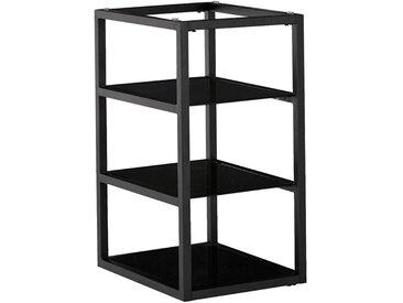 Tréteau / caisson de bureau Noir avec 3 tablettes en verre Alinéa