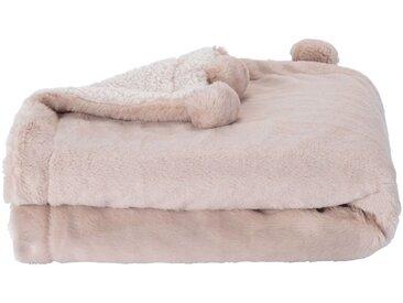 Plaid 100x150cm rose argile à pompons pour enfant - alinea