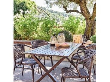 Table de jardin en aluminium effet bois (4 à 6 places) - alinea