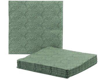 Lot de 20 serviettes en papier décoré vert cèdre 33x33cm - alinea