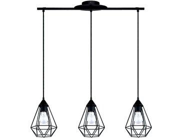 Suspension géométrique à 3 lumières en acier noir L79cm Alinéa