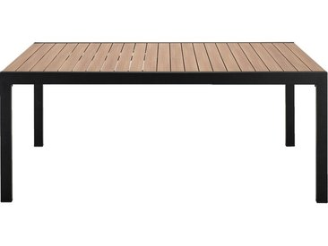Table de jardin extensible en aluminium effet teck - noir (8 à 12 places) - alinea