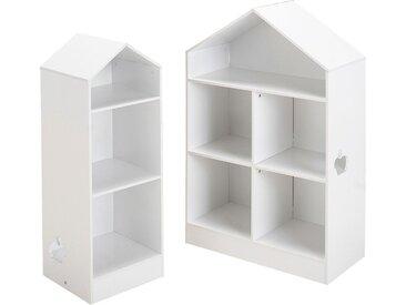 Bibliothèque 2 Étagères Forme Maison Pour Chambre Enfant - Blanc - alinea