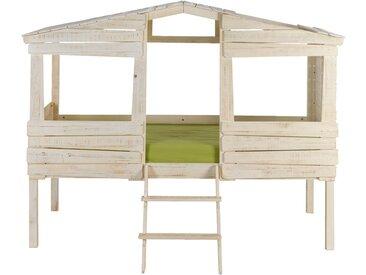 Lit cabane 1 place en pin massif blanc 90x200 cm Alinéa