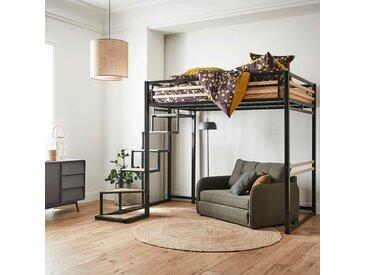 Lit mezzanine en acier Noir - 140x200 cm - épaisseur max 15cm - alinea