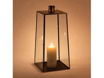 Lanterne en métal et verre - doré - H42cm - alinea
