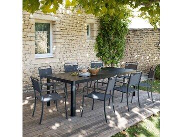 Table de jardin extensible en aluminium noir (8 à 10 places) Alinéa