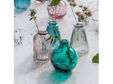 Vase rond strié en verre rose H8 cm Alinéa