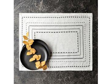 Lot de 2 sets de table en coton blanc et noir 36x48cm (prix unitaire : 4.0 euros) - alinea
