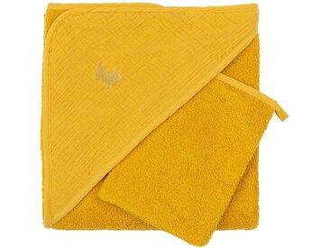 Ensemble cape de bain et gant bébé avec broderie lurex - jaune - alinea