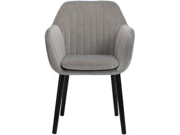 Chaise capitonnée en velours gris restanque avec accoudoirs - alinea