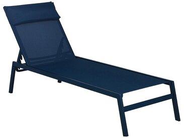 Lot de 2 bain de soleil en métal et textilène - bleu figuerolles (prix unitaire : 99.0 euros) - alinea