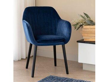 Chaise capitonnée en velours bleu figuerolles avec accoudoirs - alinea