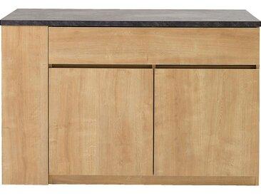 Ilot central de cuisine en bois avec rangement réversible L140cm - naturel - alinea