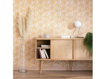 Papier peint intissé motif jasmin beige nèfle 10m - alinea
