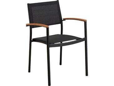 Lot de 2 chaise de jardin empilable en aluminium et plastique avec accoudoirs - noir (prix unitaire : 89.0 euros) - alinea