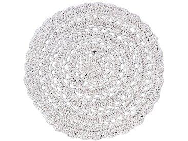 Tapis rond en coton imitation macramé - beige D90cm - alinea