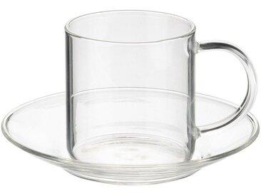 Lot de 2 tasses avec sous-tasse en verre transparent 15cl (prix unitaire : 6.0 euros) - alinea