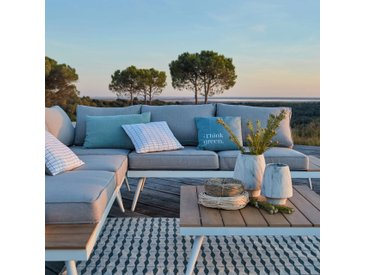 Salon de jardin gris en alu et polywood (4 à 6 places) - alinea