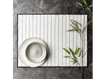 Lot de 2 sets de table en coton blanc et noir 36x48cm (prix unitaire : 3.0 euros) - alinea