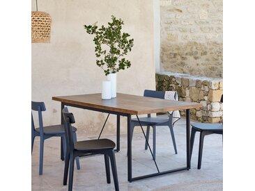 Table de repas rectangulaire effet bois et acier - 6 places - alinea