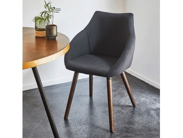 Chaise en tissu noir calabrun pieds effet noyer avec accoudoirs - alinea