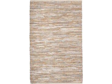 Tapis tressé en cuir et coton - marron 100x150cm - alinea