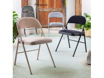 Chaise pliante en métal et tissu gris restanque - alinea