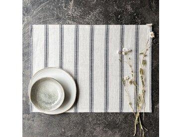 Lot de 2 sets de table en lin et coton noir et blanc 36x48cm (prix unitaire : 5.0 euros) - alinea