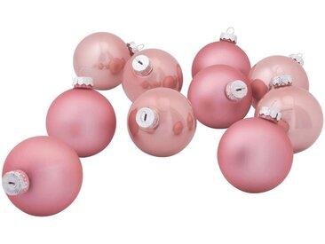 10 boules de Noël en verre rose D6cm - alinea