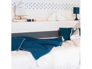 Plaid en gaze de coton 100x150 cm bleu figuerolles - alinea