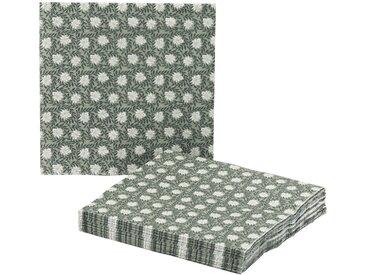 Lot de 20 serviettes en papier vert olivier à motif jasmin 33x33cm - alinea