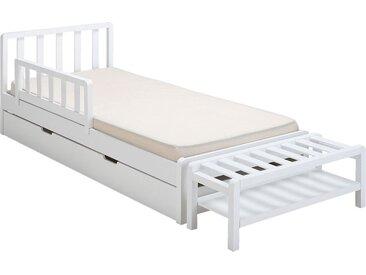 Lit 1 place enfant en bois avec tête de lit à barreaux 90x200cm - blanc capelan - alinea