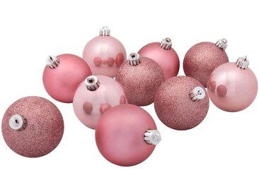 10 boules de Noël en plastique rose D6cm - alinea