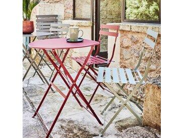 Table de jardin pliante rouge sumac D60cm (2 places) - alinea