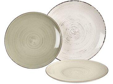 Lot de 6 assiette plate en faïence blanche effet patiné d27cm (prix unitaire : 5.0 euros) - alinea
