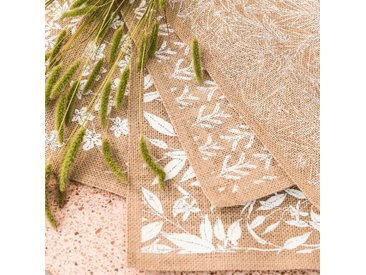 Lot de 2 sets de table en jute à motif fleur d'oranger 30x45cm (prix unitaire : 2.0 euros) - alinea
