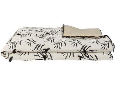 Édredon en lin et coton motif floral - blanc et noir 100x180cm - alinea