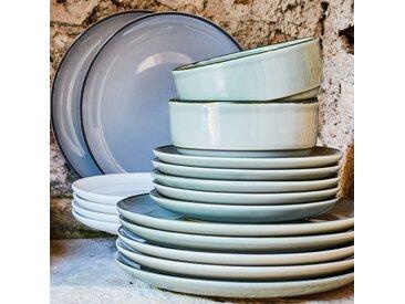 Lot de 6 assiettes plate en faïence gris restanque d27cm (prix unitaire : 5.0 euros) - alinea