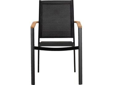 Lot de 2 chaise de jardin en aluminium et textilène avec accoudoirs noir (prix unitaire : 79.0 euros) - alinea