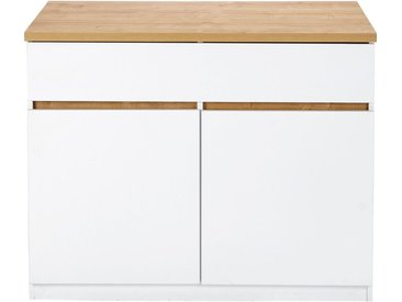 Bar Îlot Central Effet Chêne Et Blanc Mat - L115cm - alinea