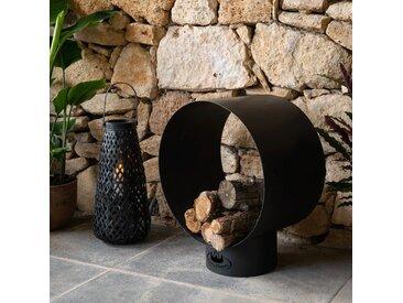 Panier à bûches en acier noir H72cm - alinea