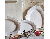 Assiette de présentation en faïence ovale L32xl24cm - blanc - alinea